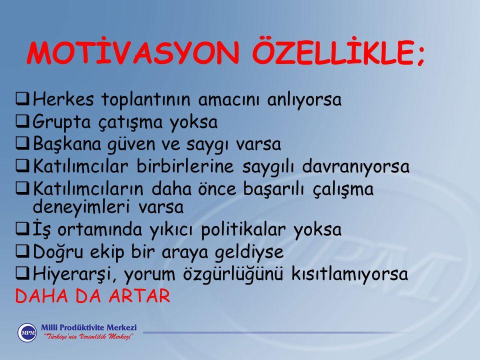 MOTİVASYON ÖZELLİKLE;