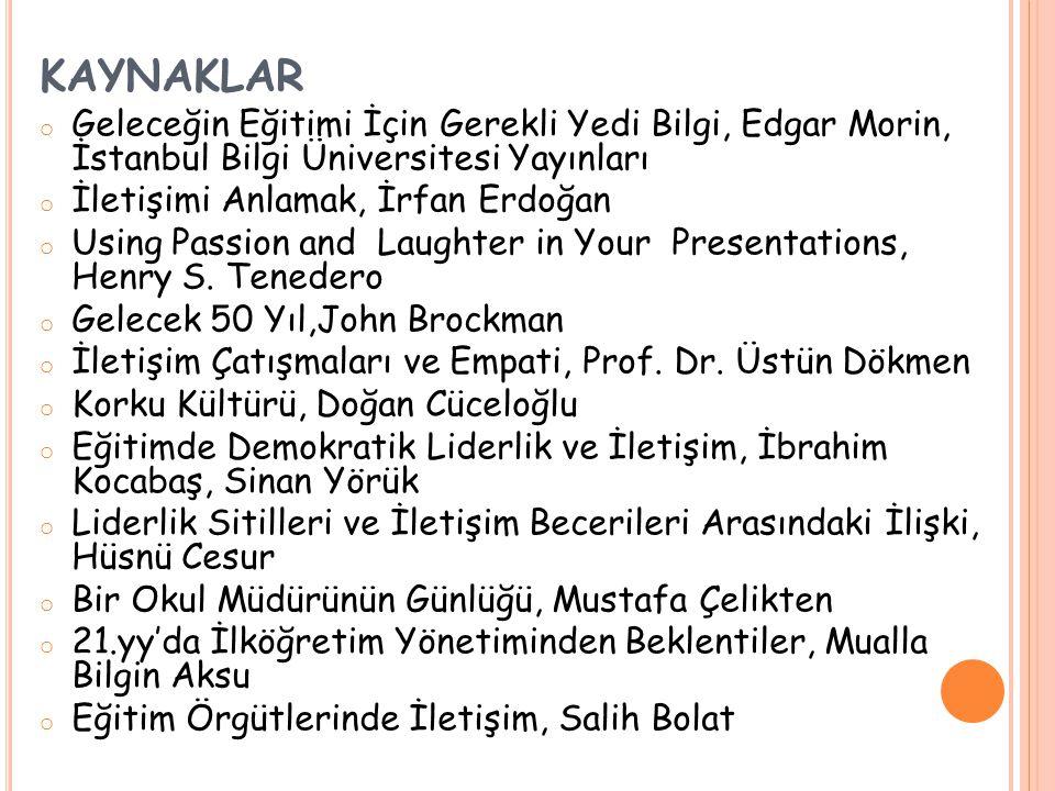 KAYNAKLAR Geleceğin Eğitimi İçin Gerekli Yedi Bilgi, Edgar Morin, İstanbul Bilgi Üniversitesi Yayınları.