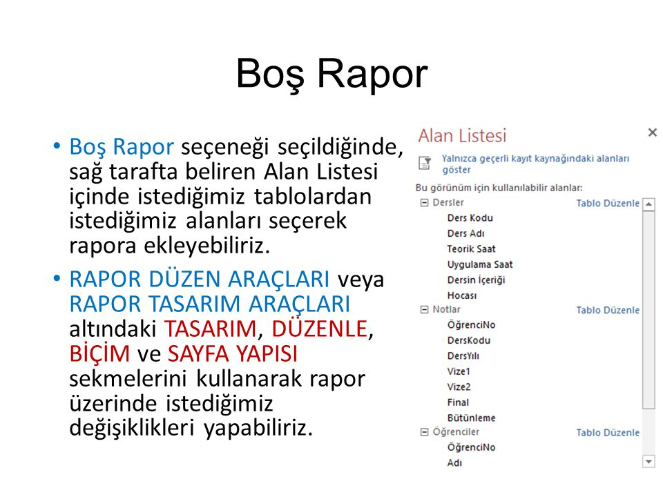Boş Rapor