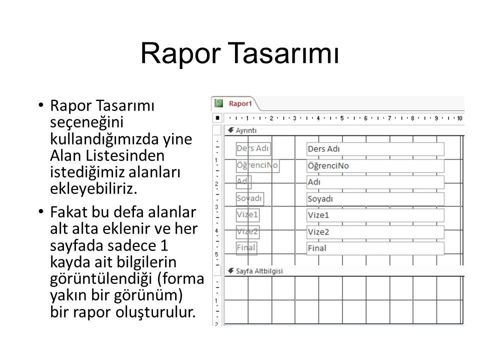 Rapor Tasarımı Rapor Tasarımı seçeneğini kullandığımızda yine Alan Listesinden istediğimiz alanları ekleyebiliriz.