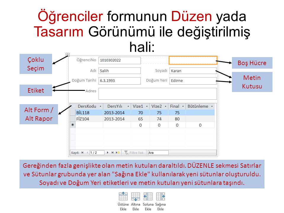 Öğrenciler formunun Düzen yada Tasarım Görünümü ile değiştirilmiş hali: