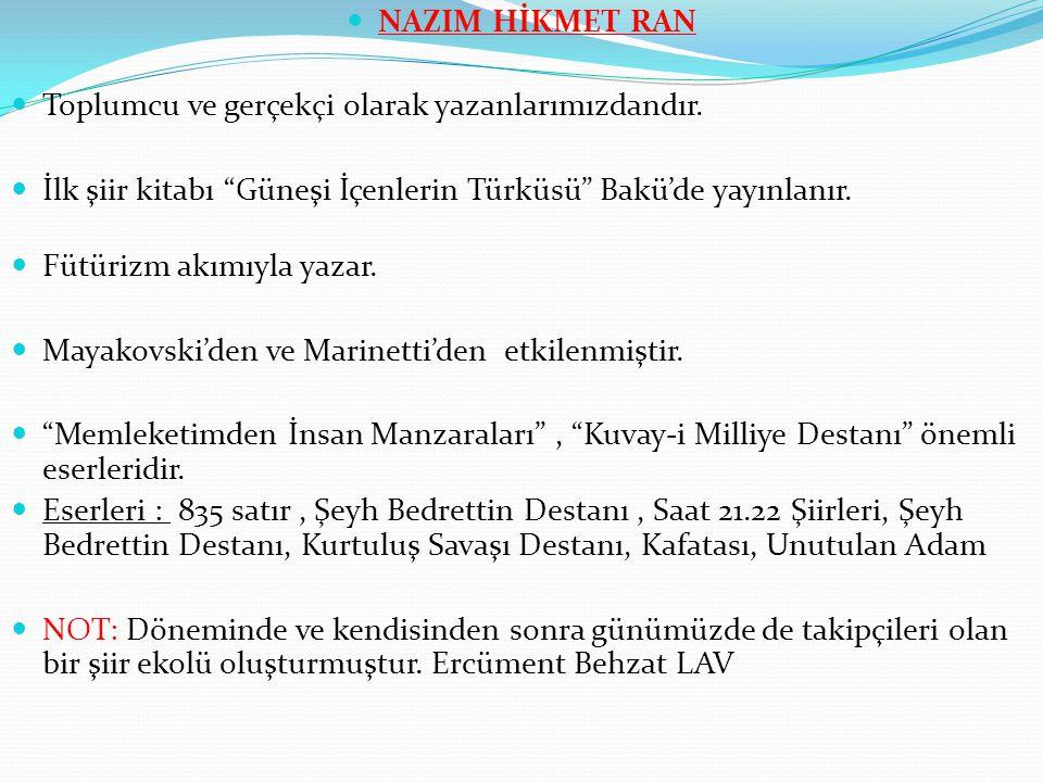 NAZIM HİKMET RAN Toplumcu ve gerçekçi olarak yazanlarımızdandır. İlk şiir kitabı Güneşi İçenlerin Türküsü Bakü'de yayınlanır.
