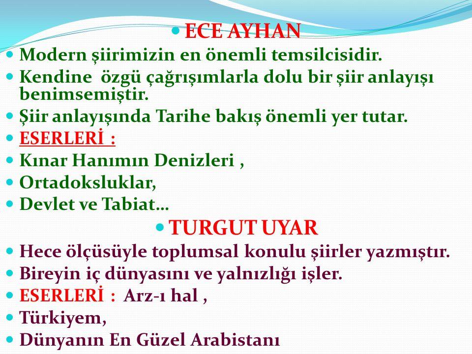 ECE AYHAN TURGUT UYAR Modern şiirimizin en önemli temsilcisidir.