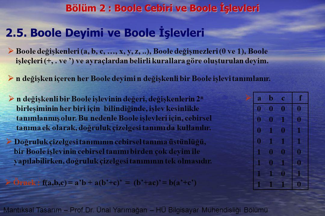 2.5. Boole Deyimi ve Boole İşlevleri