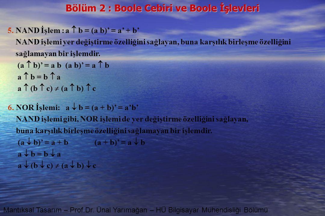 5. NAND İşlem : a  b = (a b)' = a' + b'