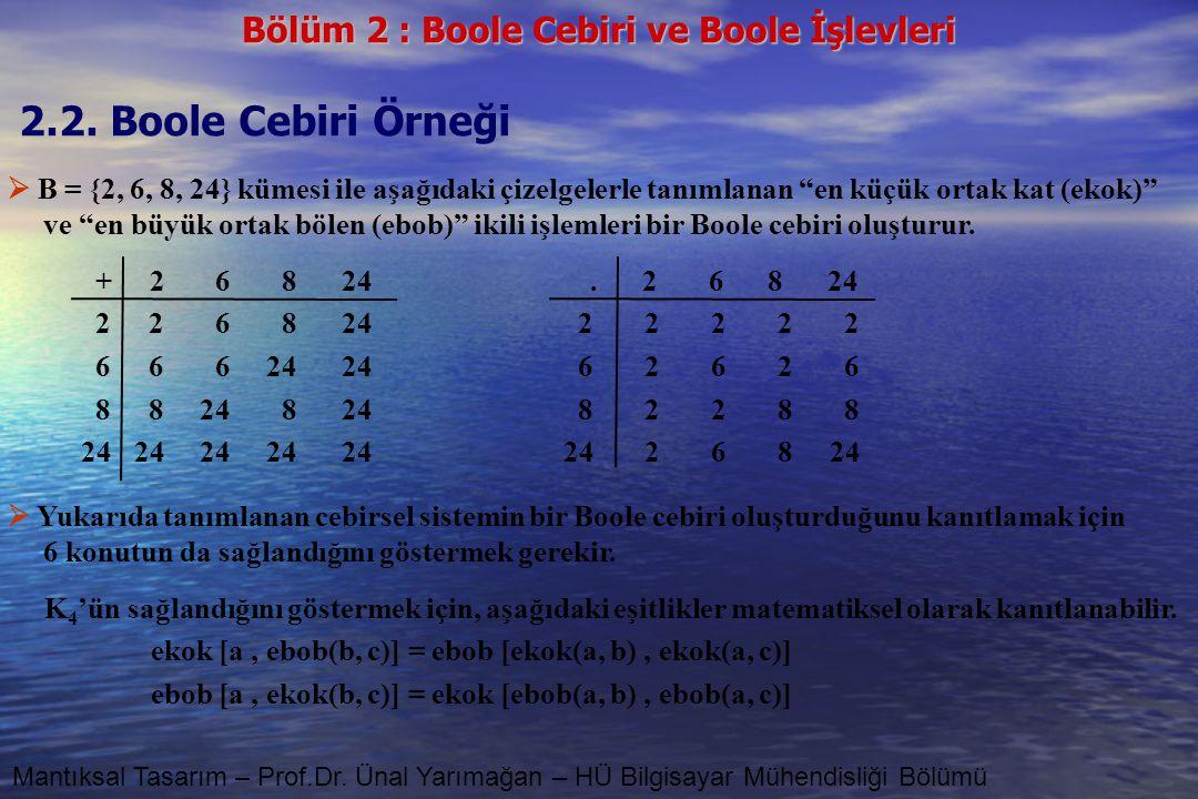2.2. Boole Cebiri Örneği  B = {2, 6, 8, 24} kümesi ile aşağıdaki çizelgelerle tanımlanan en küçük ortak kat (ekok)