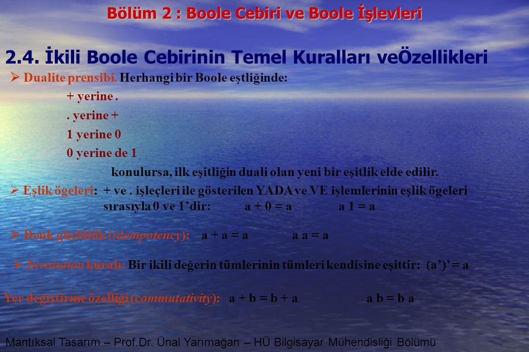 2.4. İkili Boole Cebirinin Temel Kuralları veÖzellikleri