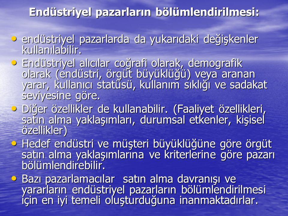Endüstriyel pazarların bölümlendirilmesi: