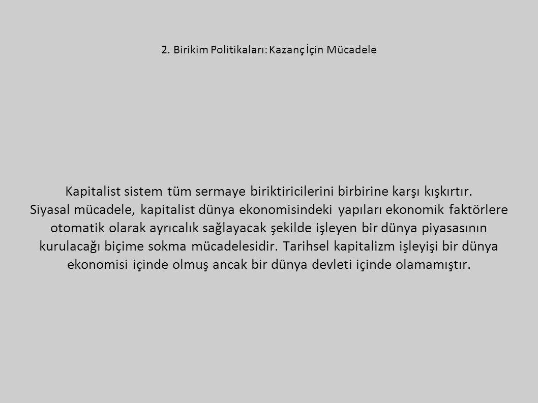 2. Birikim Politikaları: Kazanç İçin Mücadele