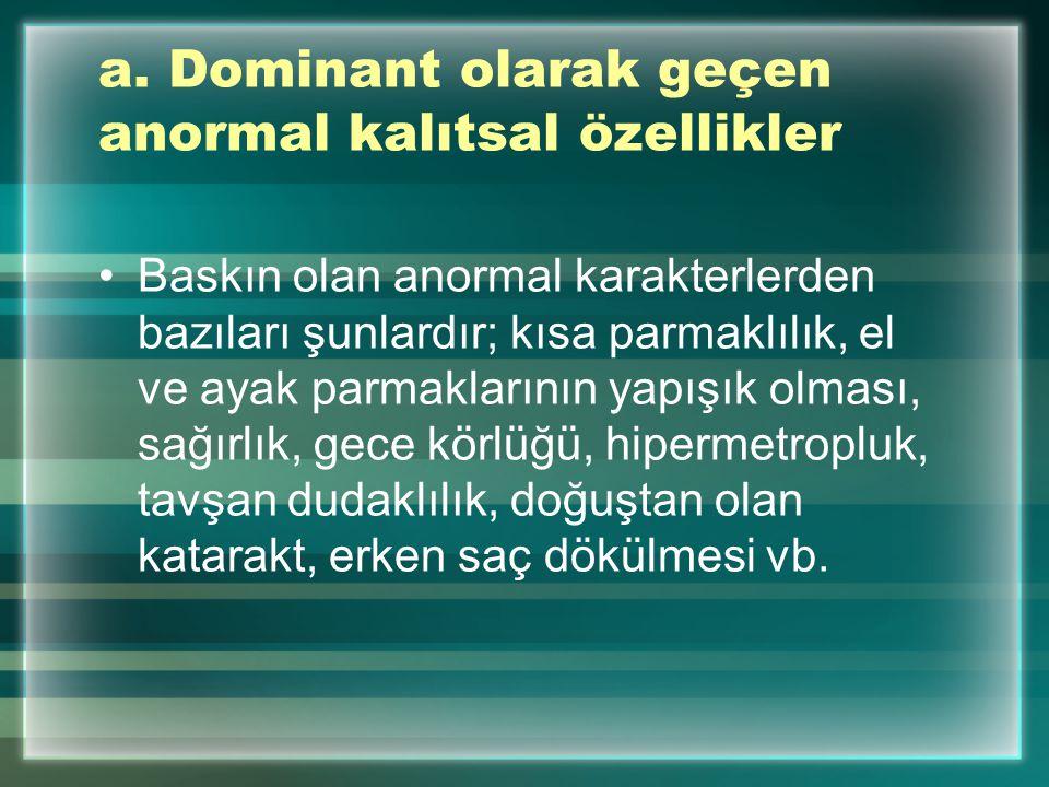 a. Dominant olarak geçen anormal kalıtsal özellikler