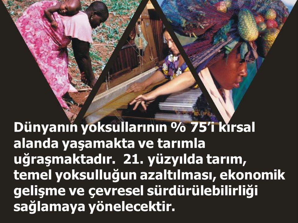 Dünyanın yoksullarının % 75'i kırsal alanda yaşamakta ve tarımla uğraşmaktadır. 21. yüzyılda tarım, temel yoksulluğun azaltılması, ekonomik gelişme ve çevresel sürdürülebilirliği sağlamaya yönelecektir.
