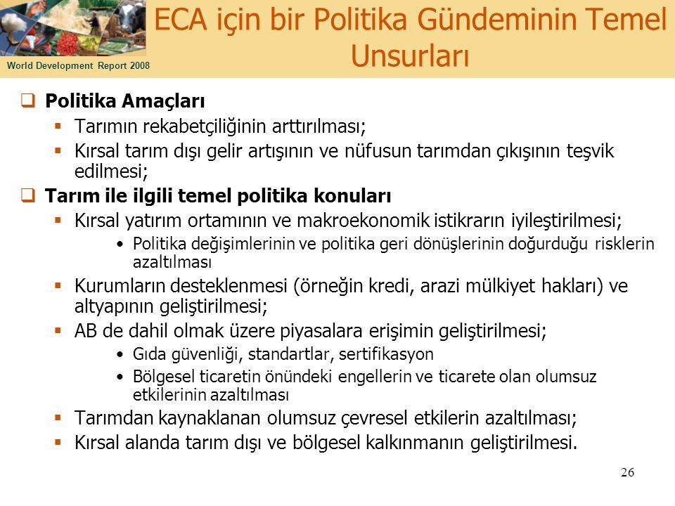 ECA için bir Politika Gündeminin Temel Unsurları
