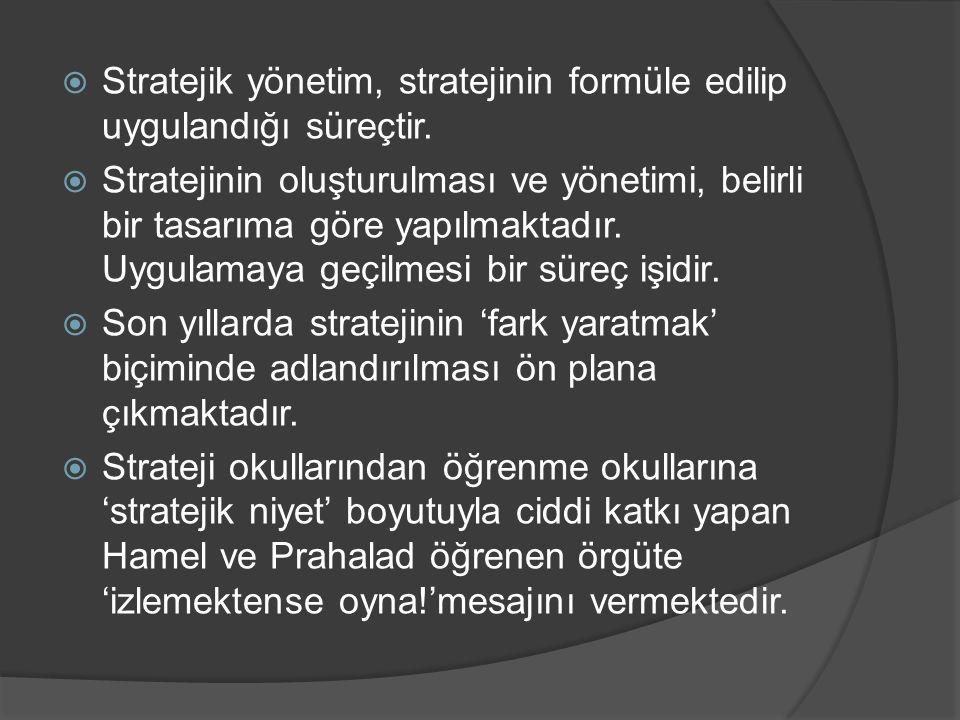 Stratejik yönetim, stratejinin formüle edilip uygulandığı süreçtir.