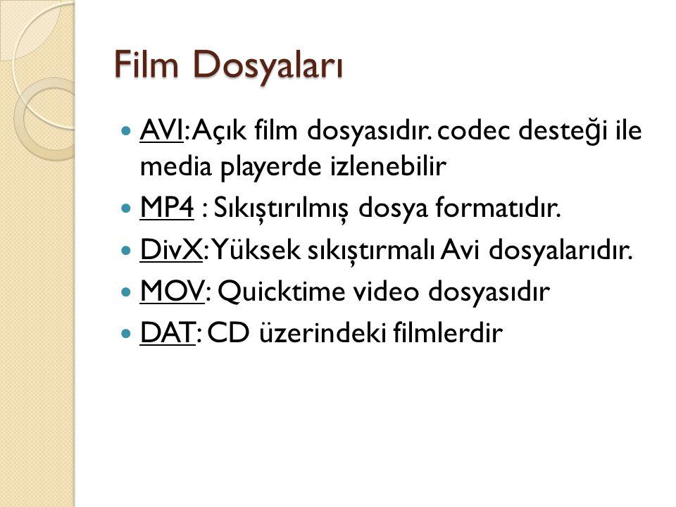 Film Dosyaları AVI: Açık film dosyasıdır. codec desteği ile media playerde izlenebilir. MP4 : Sıkıştırılmış dosya formatıdır.