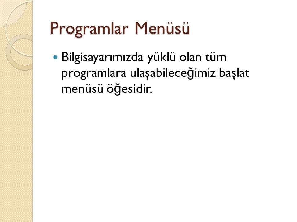 Programlar Menüsü Bilgisayarımızda yüklü olan tüm programlara ulaşabileceğimiz başlat menüsü öğesidir.
