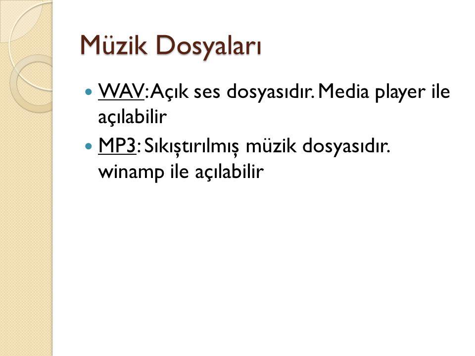 Müzik Dosyaları WAV: Açık ses dosyasıdır. Media player ile açılabilir