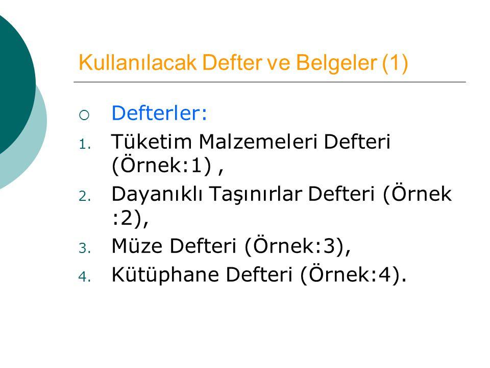 Kullanılacak Defter ve Belgeler (1)