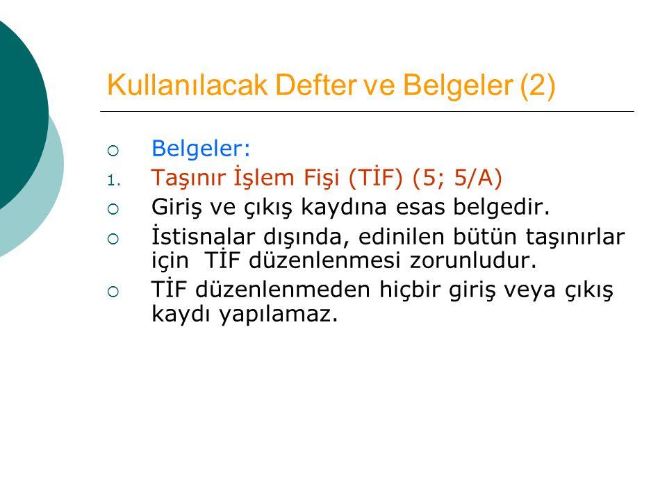 Kullanılacak Defter ve Belgeler (2)