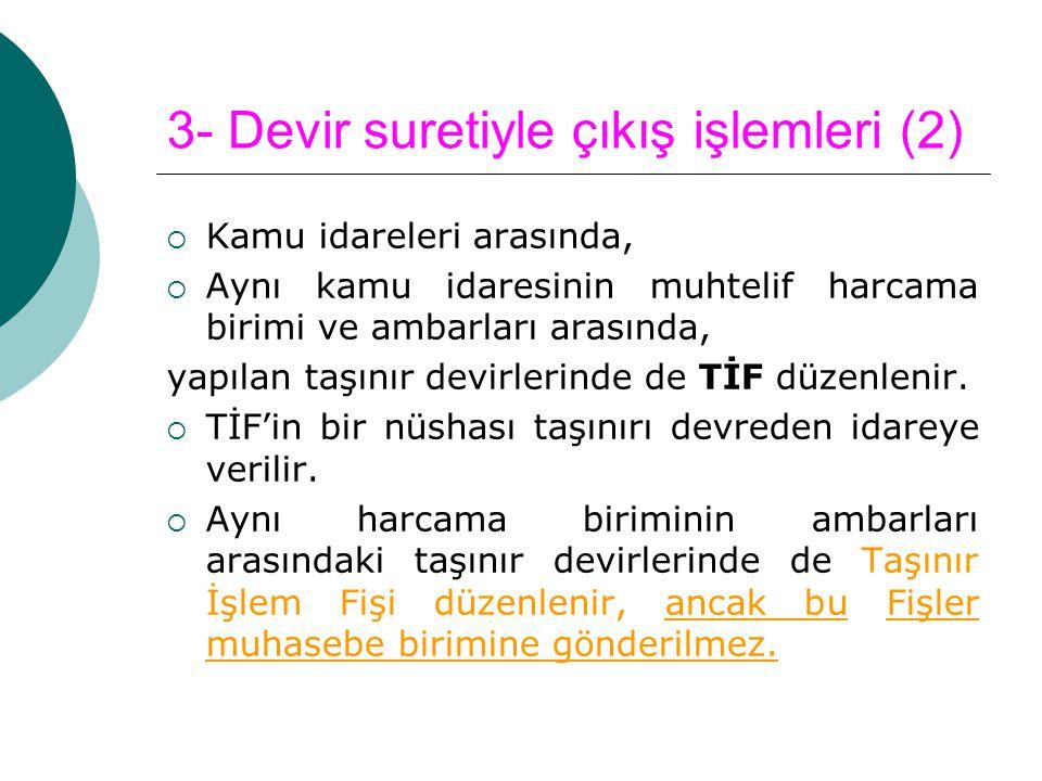 3- Devir suretiyle çıkış işlemleri (2)