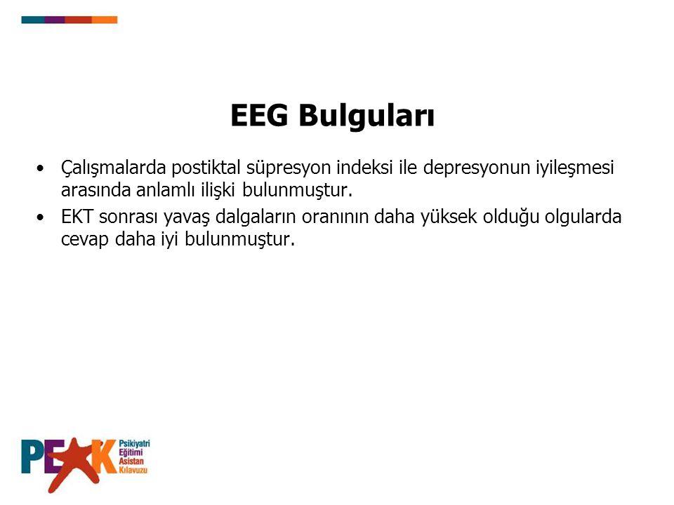 EEG Bulguları Çalışmalarda postiktal süpresyon indeksi ile depresyonun iyileşmesi arasında anlamlı ilişki bulunmuştur.