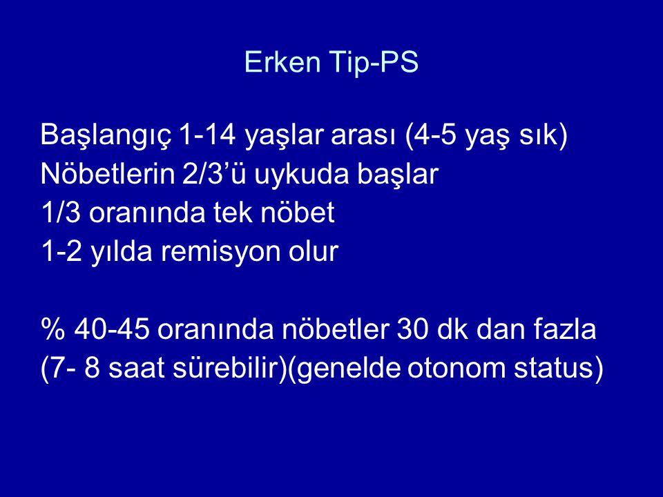 Erken Tip-PS Başlangıç 1-14 yaşlar arası (4-5 yaş sık) Nöbetlerin 2/3'ü uykuda başlar. 1/3 oranında tek nöbet.