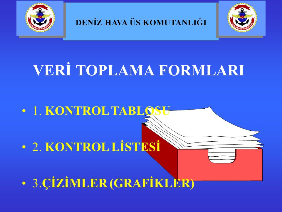 VERİ TOPLAMA FORMLARI 1. KONTROL TABLOSU 2. KONTROL LİSTESİ