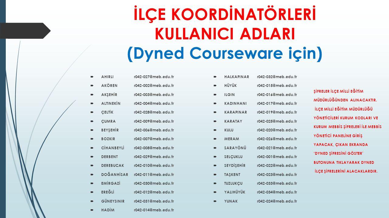 İLÇE KOORDİNATÖRLERİ KULLANICI ADLARI (Dyned Courseware için)