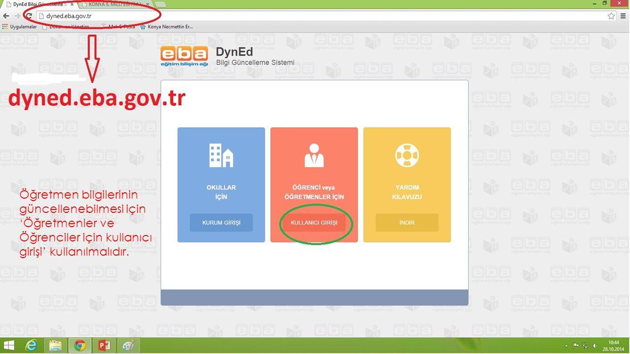 Öğretmen bilgilerinin güncellenebilmesi için 'Öğretmenler ve Öğrenciler için kullanıcı girişi' kullanılmalıdır.