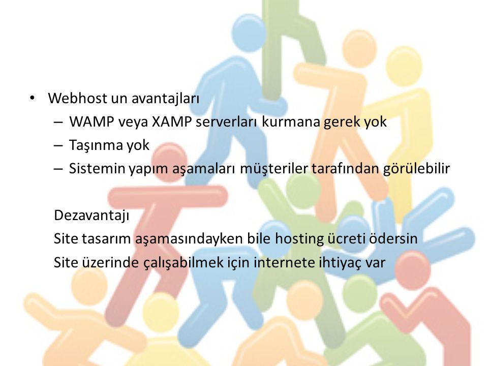Webhost un avantajları