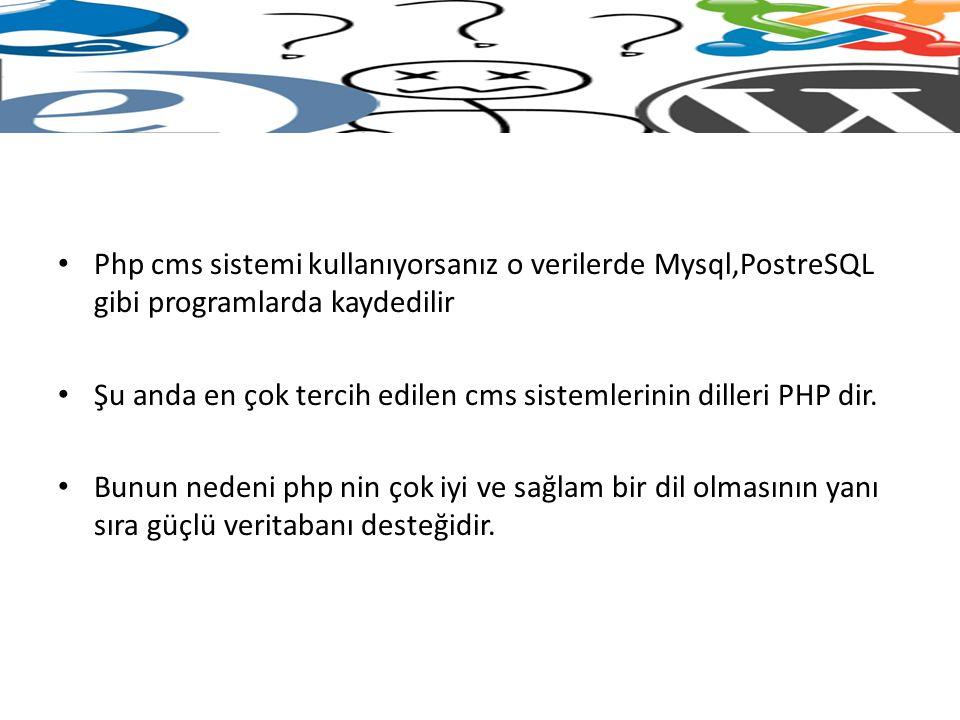 Php cms sistemi kullanıyorsanız o verilerde Mysql,PostreSQL gibi programlarda kaydedilir