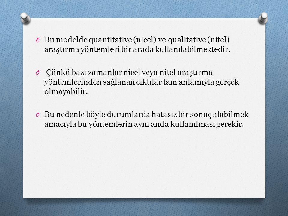 Bu modelde quantitative (nicel) ve qualitative (nitel) araştırma yöntemleri bir arada kullanılabilmektedir.