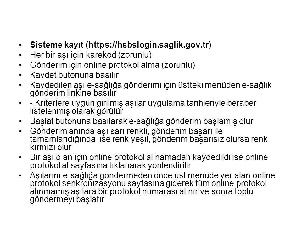 Sisteme kayıt (https://hsbslogin.saglik.gov.tr)