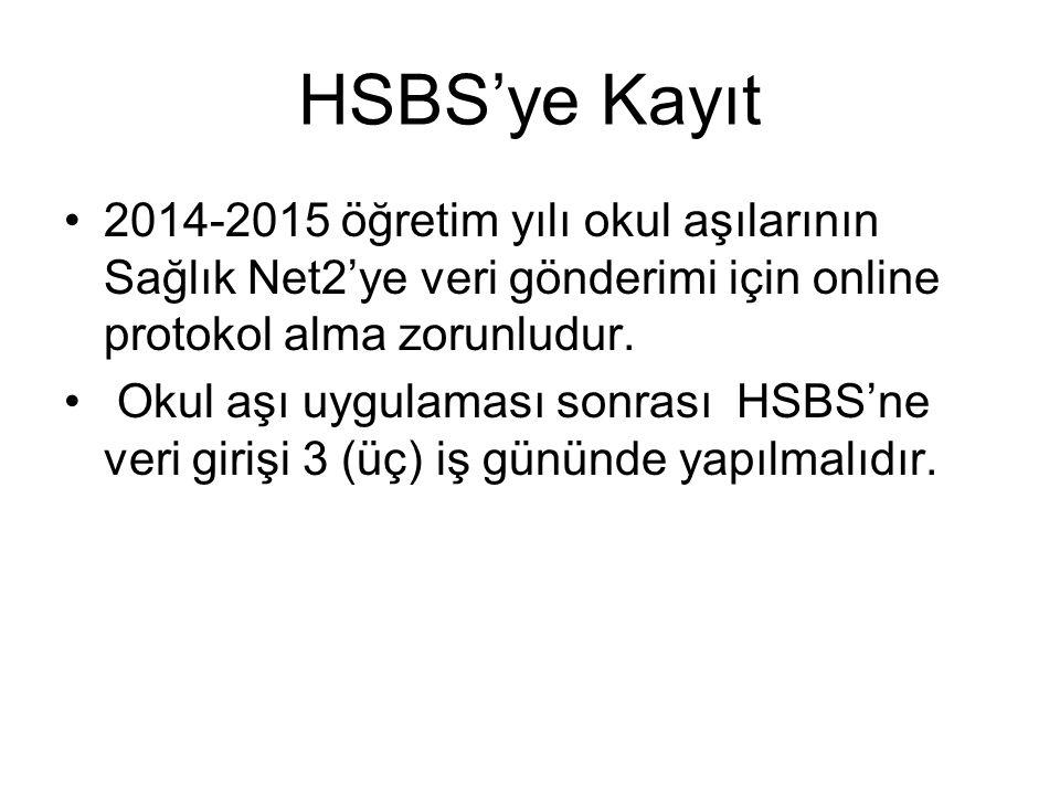 HSBS'ye Kayıt 2014-2015 öğretim yılı okul aşılarının Sağlık Net2'ye veri gönderimi için online protokol alma zorunludur.