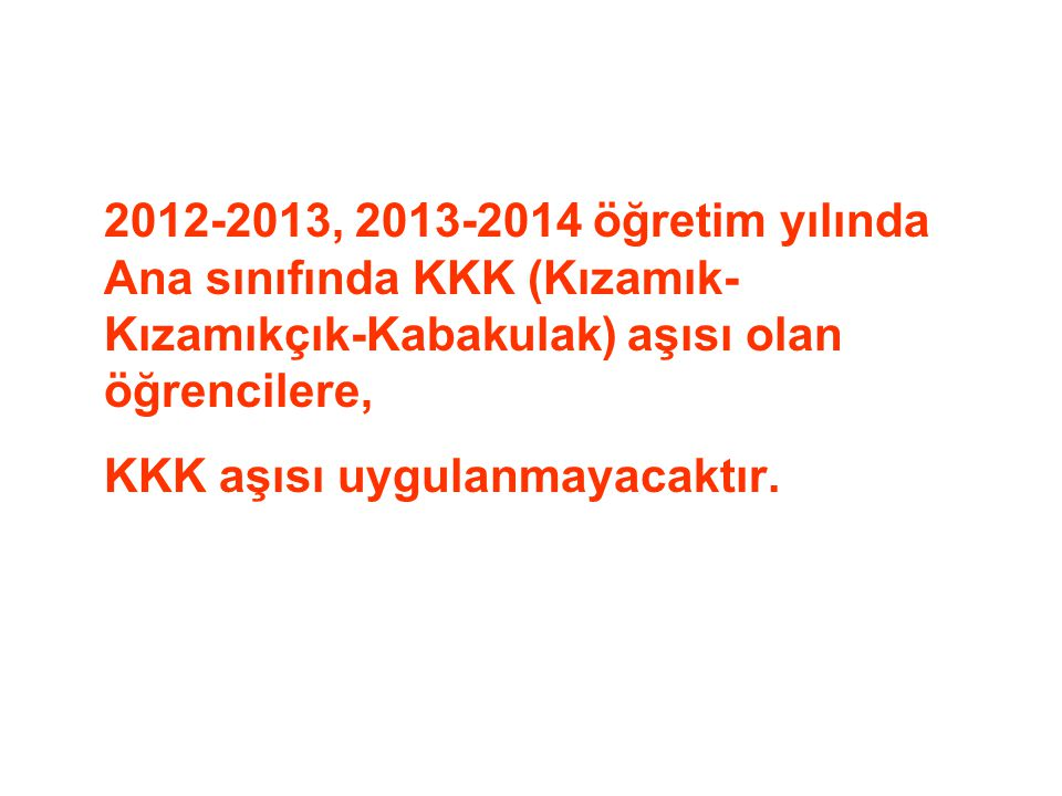 2012-2013, 2013-2014 öğretim yılında Ana sınıfında KKK (Kızamık- Kızamıkçık-Kabakulak) aşısı olan öğrencilere,