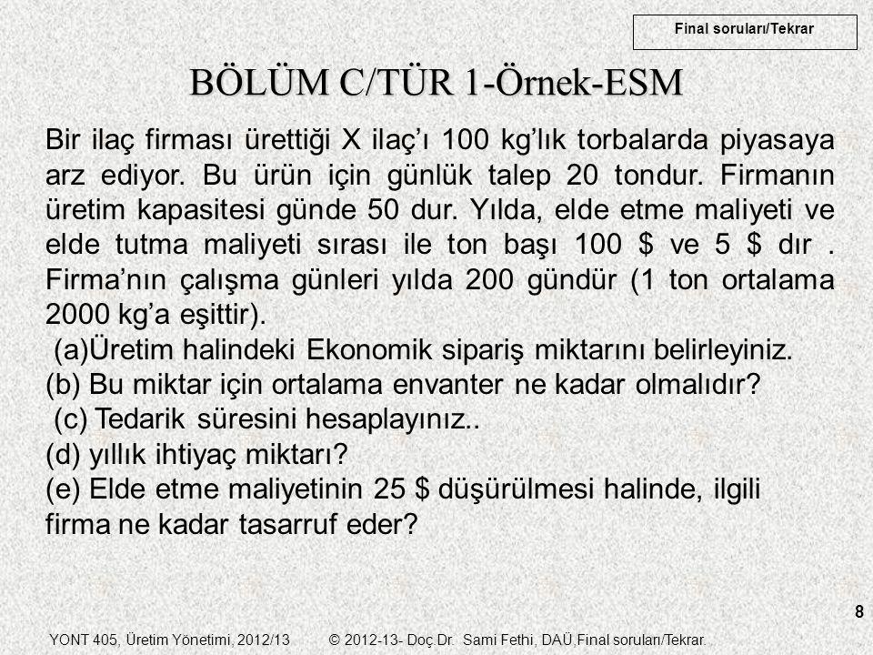 BÖLÜM C/TÜR 1-Örnek-ESM