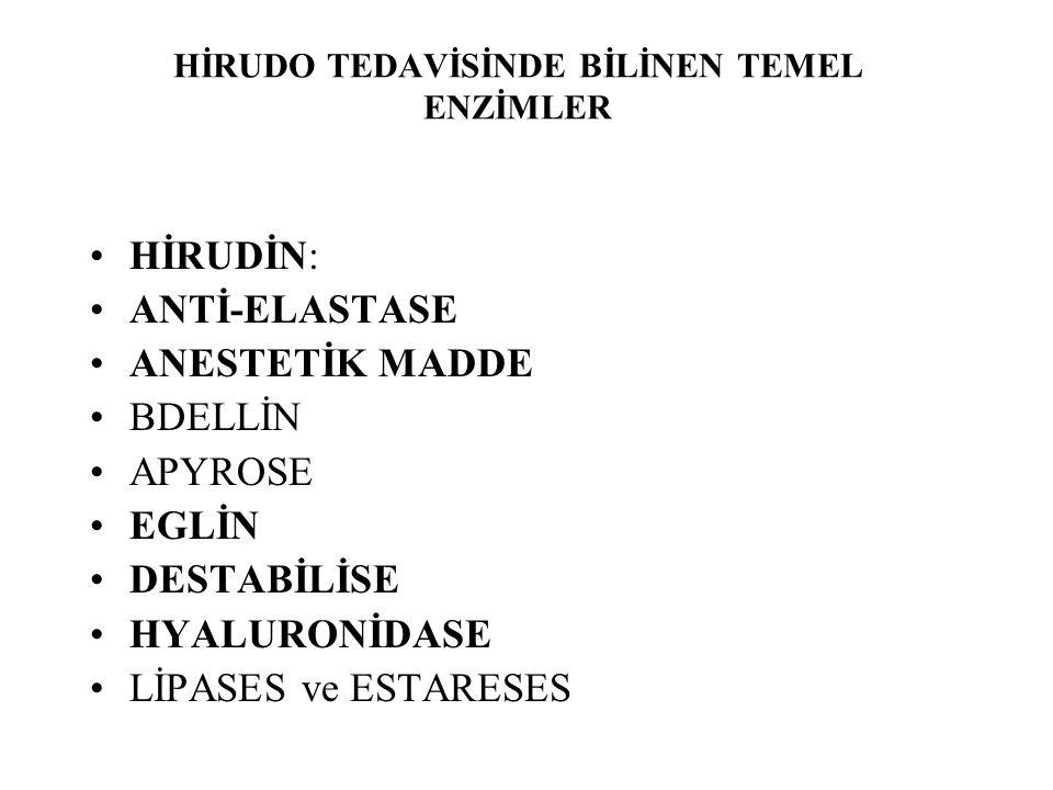 HİRUDO TEDAVİSİNDE BİLİNEN TEMEL ENZİMLER