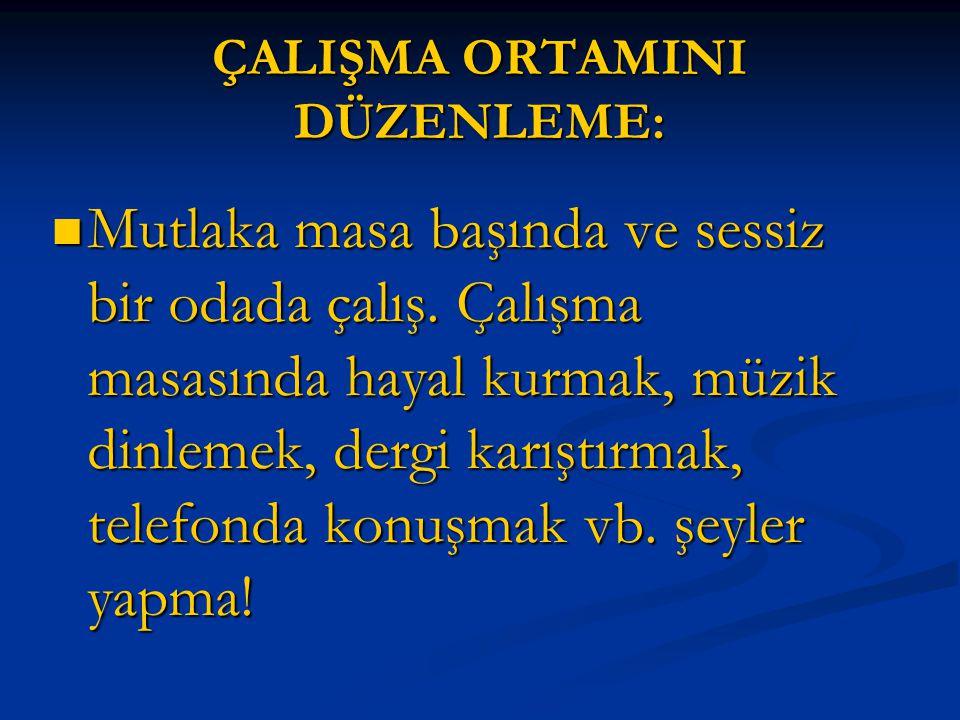 ÇALIŞMA ORTAMINI DÜZENLEME:
