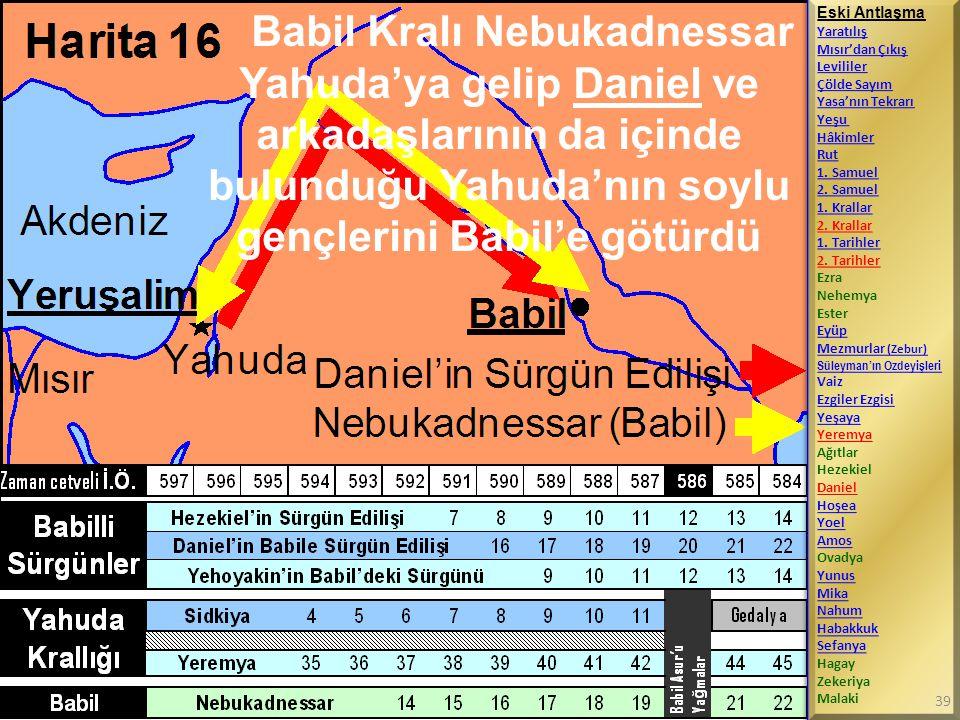 Babil Kralı Nebukadnessar Yahuda'ya gelip Daniel ve arkadaşlarının da içinde bulunduğu Yahuda'nın soylu gençlerini Babil'e götürdü