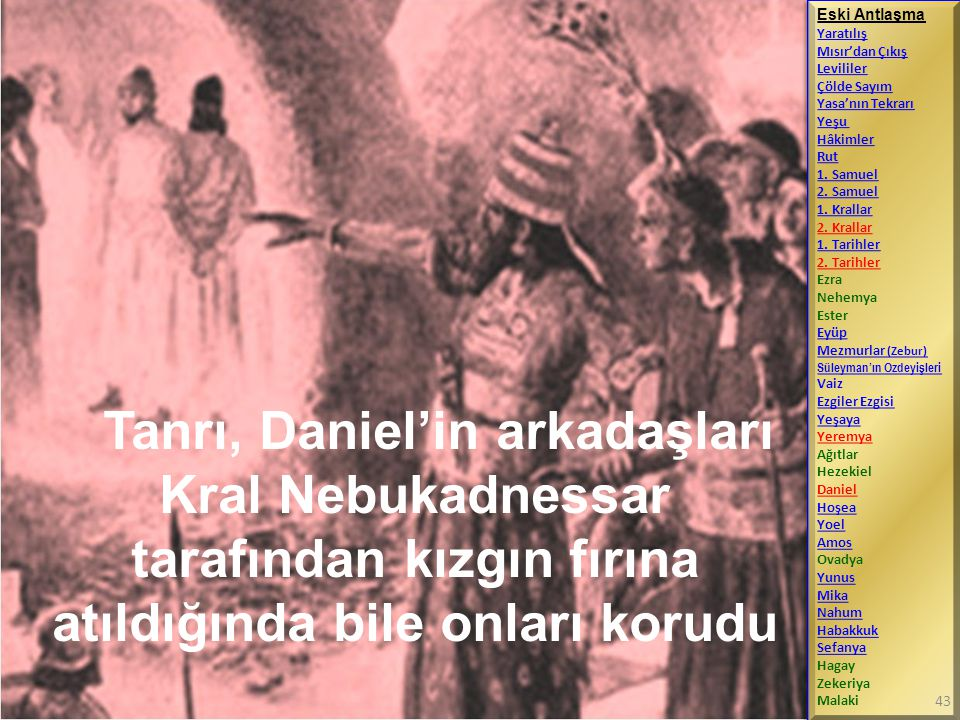 Eski Antlaşma Yaratılış. Mısır'dan Çıkış. Levililer. Çölde Sayım. Yasa'nın Tekrarı. Yeşu. Hâkimler.
