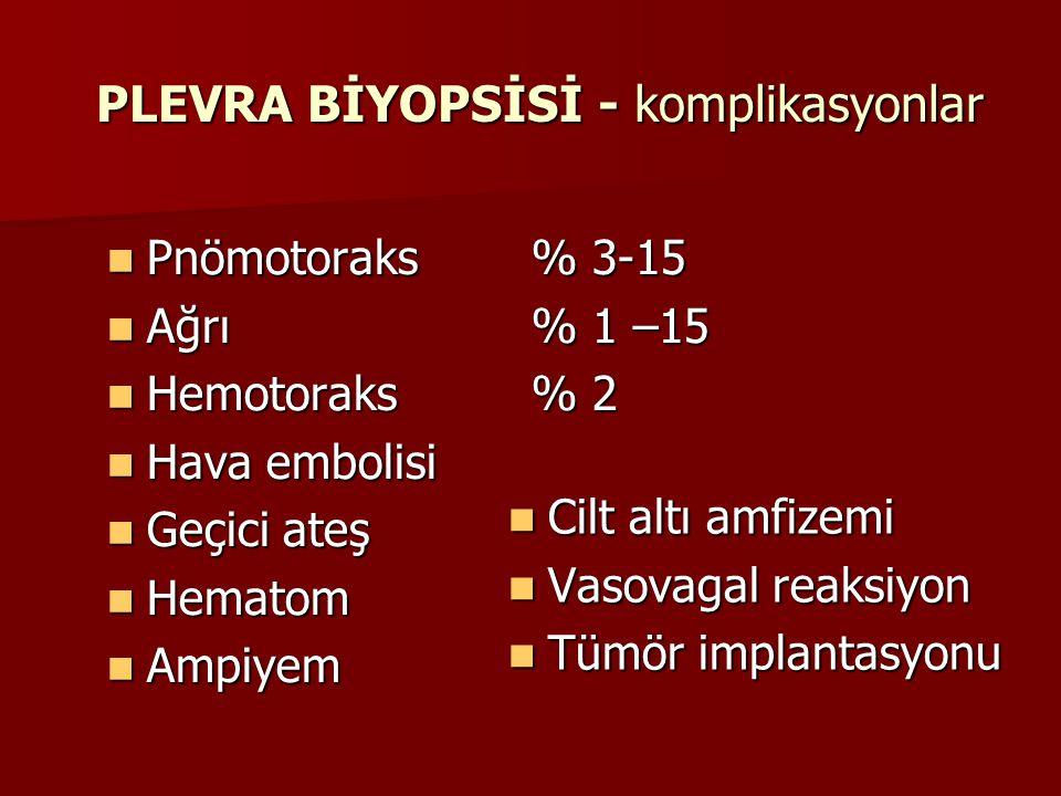 PLEVRA BİYOPSİSİ - komplikasyonlar