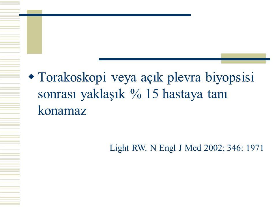 Torakoskopi veya açık plevra biyopsisi sonrası yaklaşık % 15 hastaya tanı konamaz