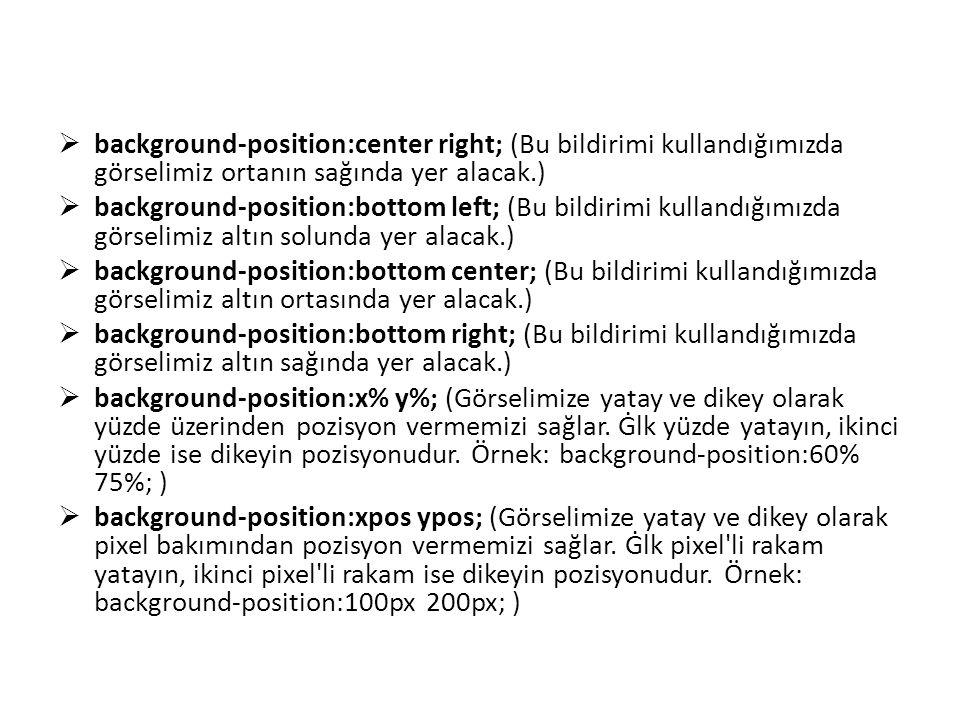 background-position:center right; (Bu bildirimi kullandığımızda görselimiz ortanın sağında yer alacak.)