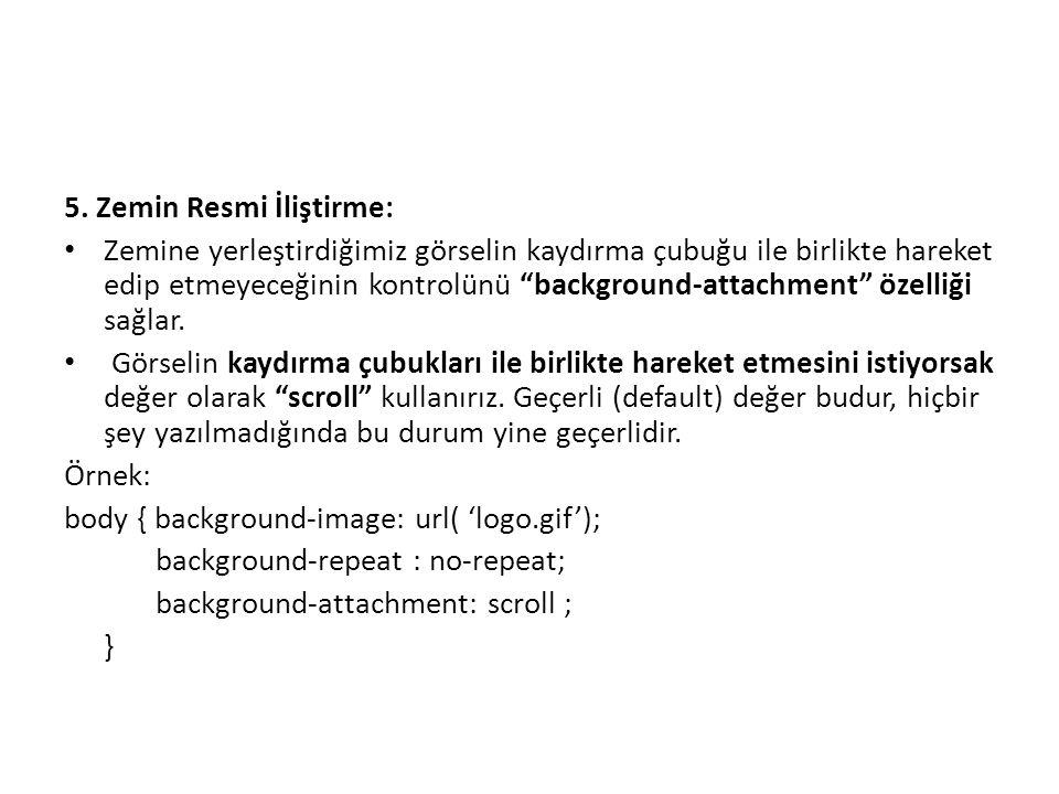 5. Zemin Resmi İliştirme: