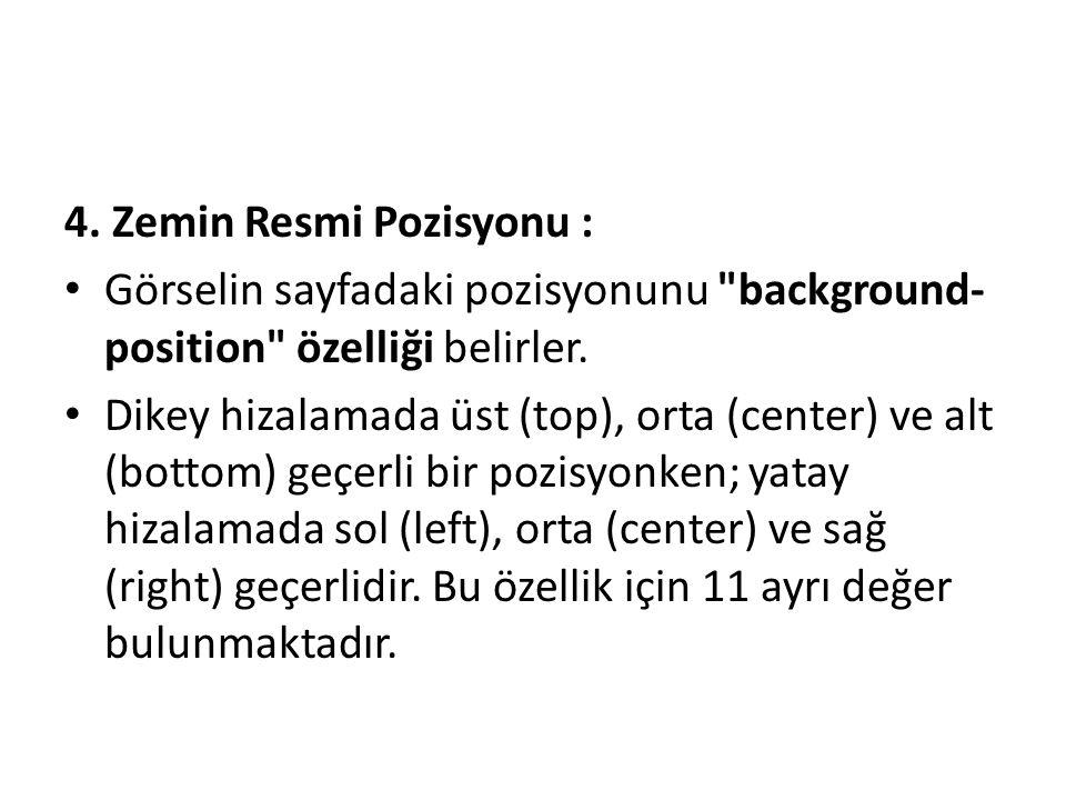 4. Zemin Resmi Pozisyonu :
