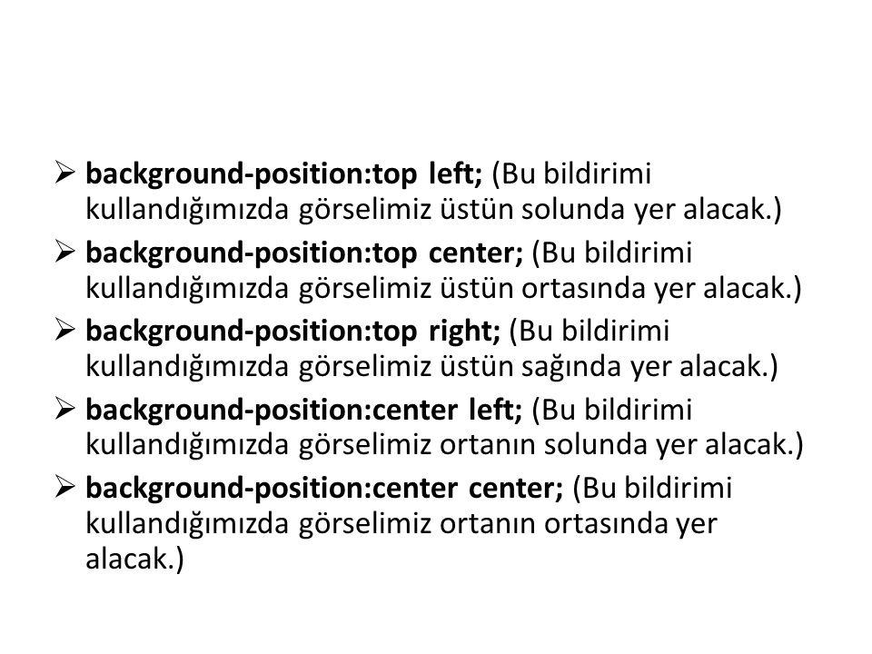 background-position:top left; (Bu bildirimi kullandığımızda görselimiz üstün solunda yer alacak.)