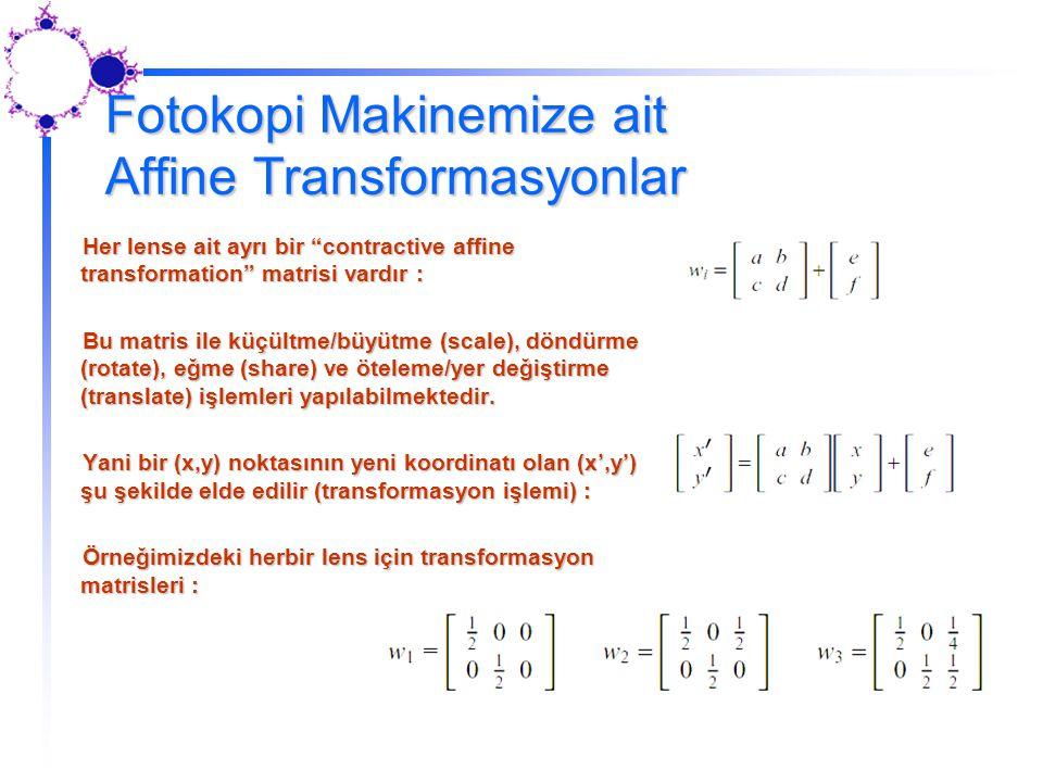 Fotokopi Makinemize ait Affine Transformasyonlar