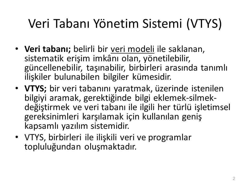 Veri Tabanı Yönetim Sistemi (VTYS)