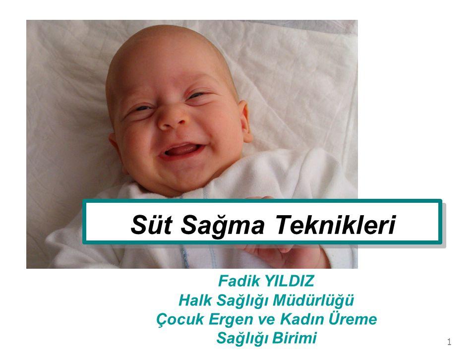 Süt Sağma Teknikleri Fadik YILDIZ Halk Sağlığı Müdürlüğü Çocuk Ergen ve Kadın Üreme Sağlığı Birimi