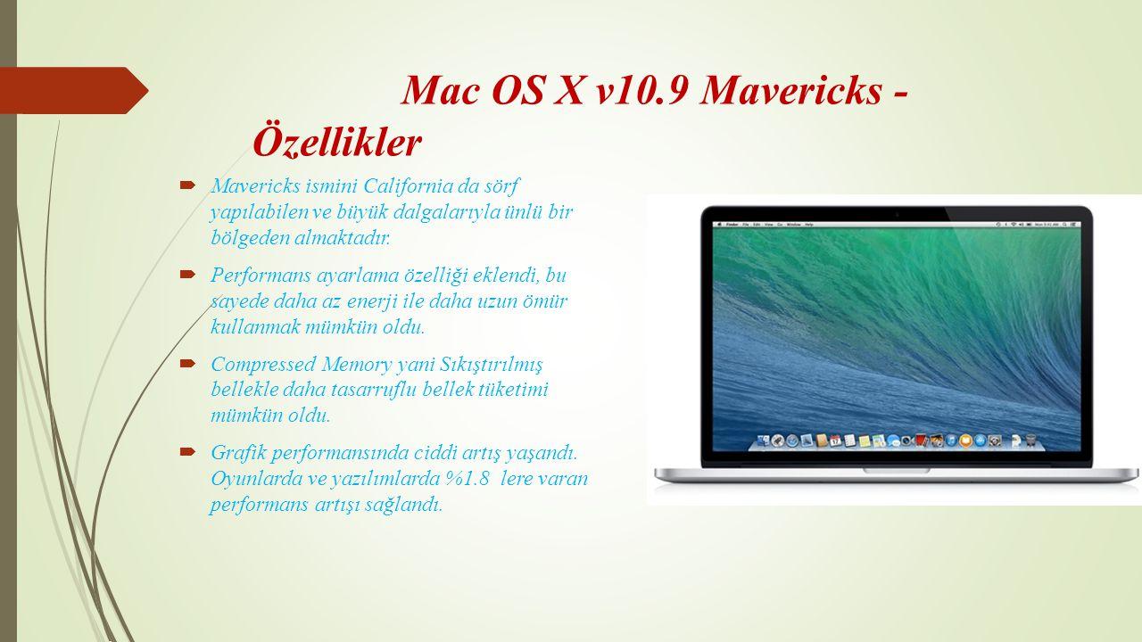 Mac OS X v10.9 Mavericks - Özellikler