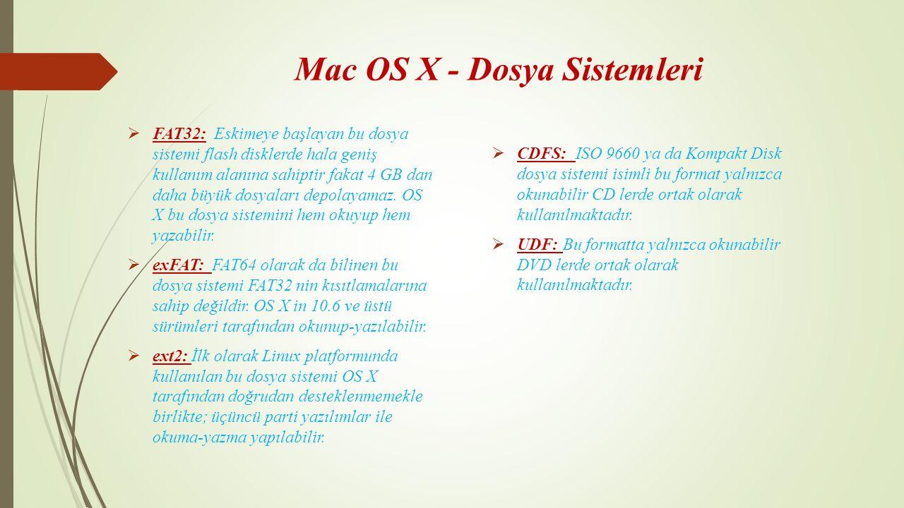 Mac OS X - Dosya Sistemleri